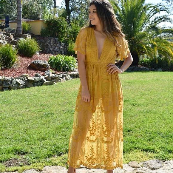 ebe588d90796 Chloe Yellow Lace Maxi Romper
